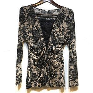 Venus Floral Black Lace Long Sleeve Blouse Top